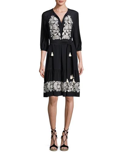 Embroidered 3/4-Sleeve Dress, Onyx