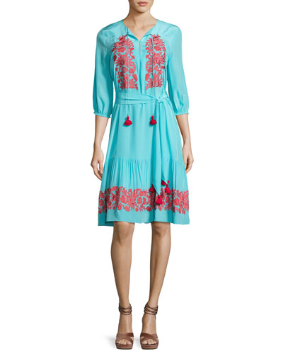 Embroidered 3/4-Sleeve Peasant Dress, Blue