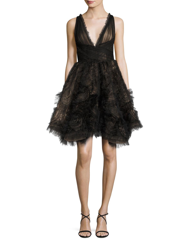 Sleeveless Tulle Fishtail Cocktail Dress, Black