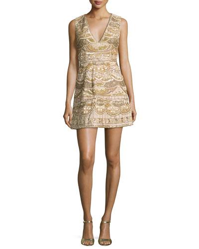 Sleeveless Embellished Silk Cocktail Dress, Light Yellow