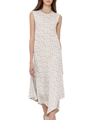 Sleeveless Jacquard A-Line Dress, Blanco/Nude