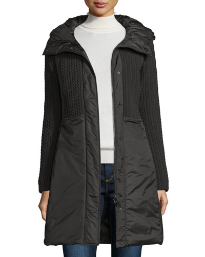 Quilted 3-Layer Hooded Parka, Nero