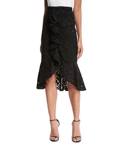 Marcello Ruffle-Front Lace Midi Skirt, Black