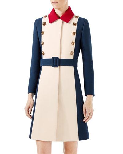 Wool A-Line Coat, Ivory