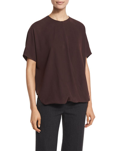 Short-Sleeve Wrap-Front Silk Top