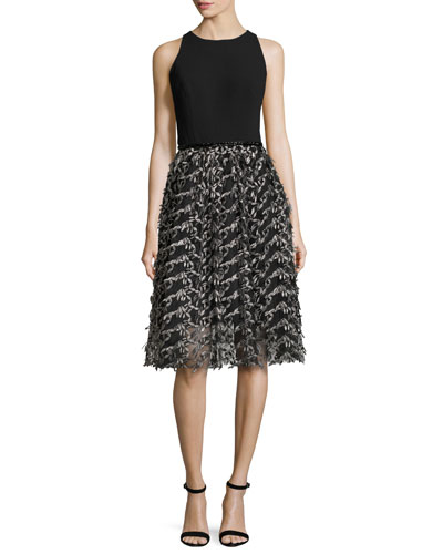 Sleeveless Crepe & Embroidered Mesh Cocktail Dress, Black/Pewter