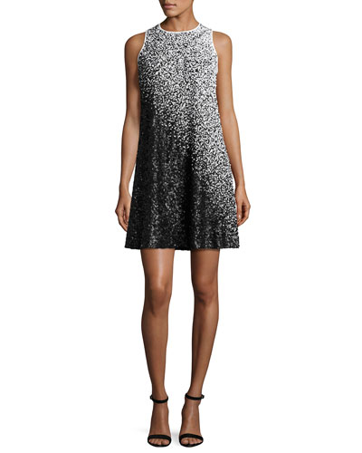 Sleeveless Ombre Sequined Swing Dress, White/Black