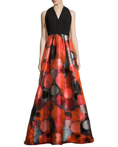 Sleeveless Crepe & Taffeta Gown, Red