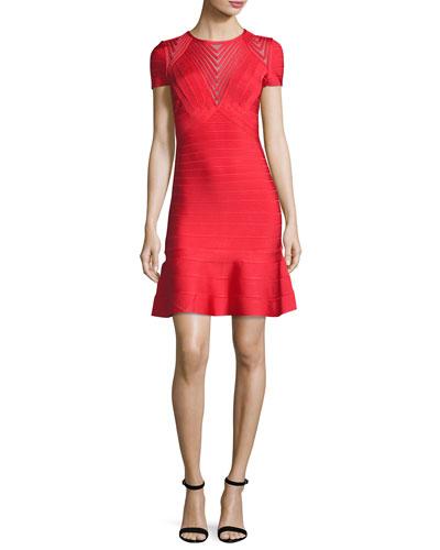 Short-Sleeve Chevron-Illusion Bandage Dress, Red
