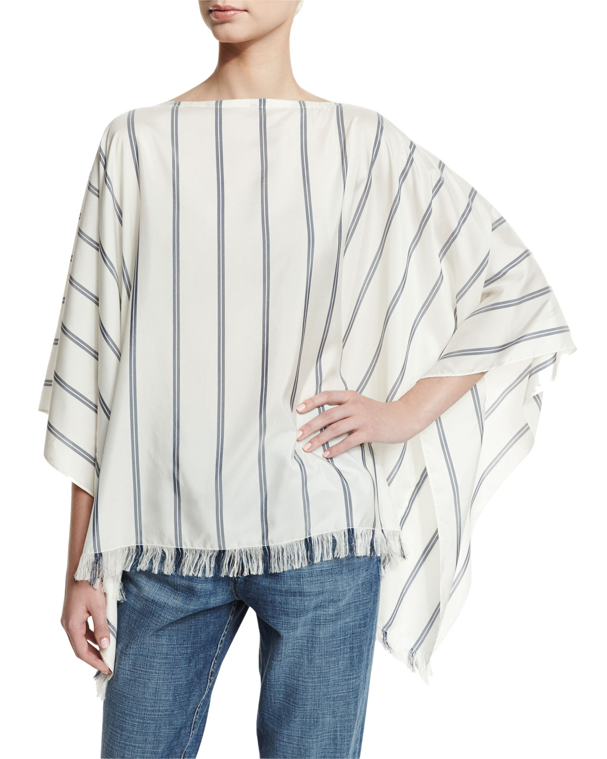 Striped Fringe-Hem Silk Poncho