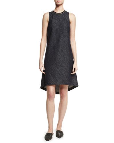 Sleeveless Chambray High-Low Shift Dress, Dark Blue