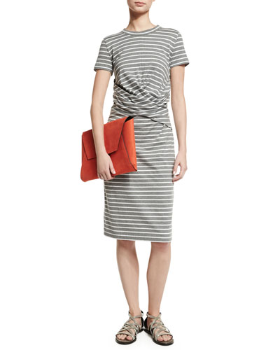 Short-Sleeve Striped Crossover-Waist Dress