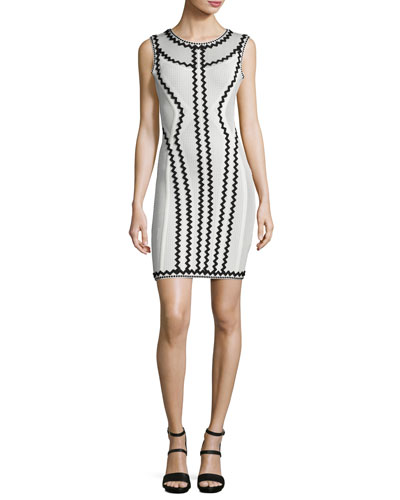 Zigzag-Trim Cocktail Dress, Black/White