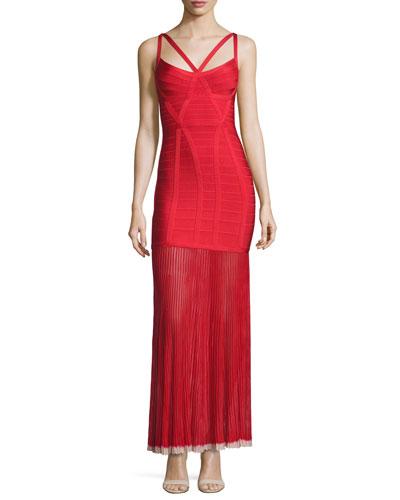 Sleeveless Bandage Gown w/Chiffon Skirt, Red