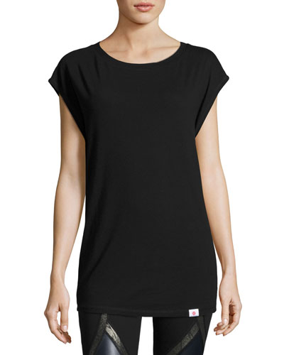 Pacific Cap-Sleeve Open-Back Performance Tee, Black