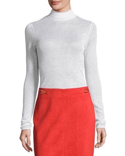Knit Cashmere-Silk Turtleneck Sweater