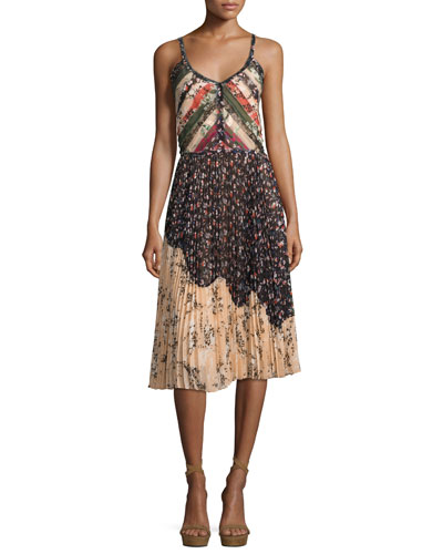 Pleated Patchwork-Chiffon Dress, Multi