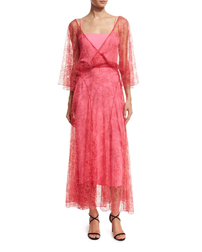 V-Neck Lace Flutter-Hem Midi Dress, Hot Pink