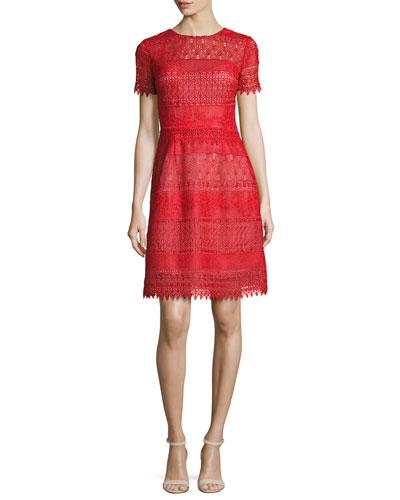 Short-Sleeve Macramé Lace A-Line Dress, Red