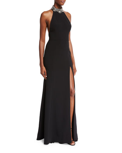 Sleeveless Embellished Ponte Gown, Black