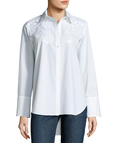 Embroidered Long-Sleeve Blouse, White