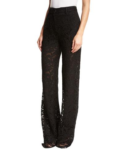 Wide-Leg Lace Pants, Black
