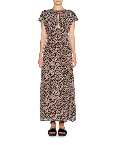 Short-Sleeve Aster-Print Maxi Dress, Black Pattern