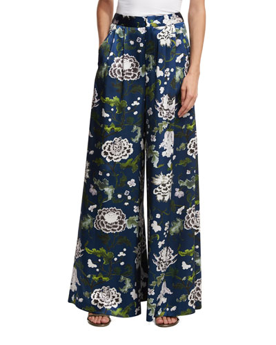 Floral-Print Wide-Leg Satin Pants, Blue Pattern