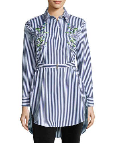 Floral-Embroidered Tunic Blouse w/Belt, Multi