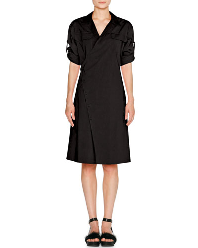 Sporty Poplin Wrap Dress, Black