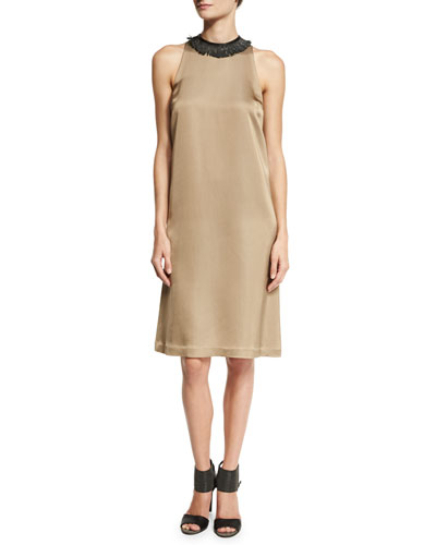 Sleeveless Cady Dress w/Monili Leather Collar, Yellow