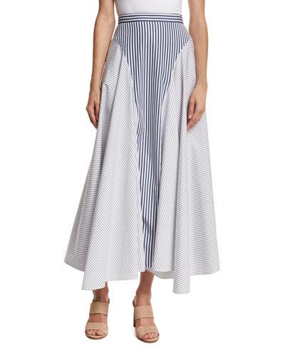 Mixed-Stripe Poplin Midi Skirt, Multi