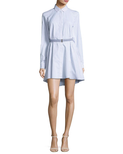 Pinstriped Poplin Trapeze Shirtdress, Multi