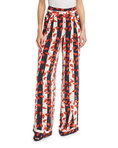 Striped Leaf-Print Silk Pants, Red/Navy
