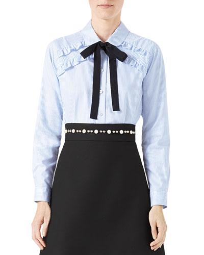 Long-Sleeve Oxford Stripe Blouse with Grosgrain Tie, Blue