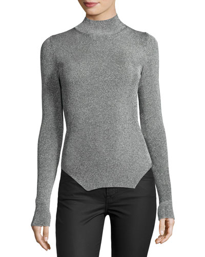 Ribbed Mock-Neck Sweater, Silver