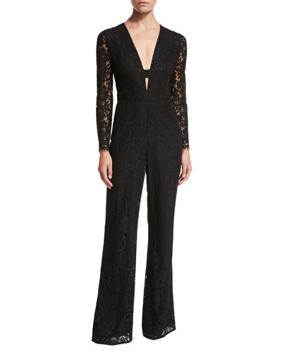 Kyara Long-Sleeve Lace Jumpsuit, Black