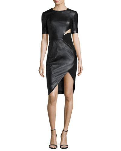 Short-Sleeve Cutout Faux-Leather Dress, Black