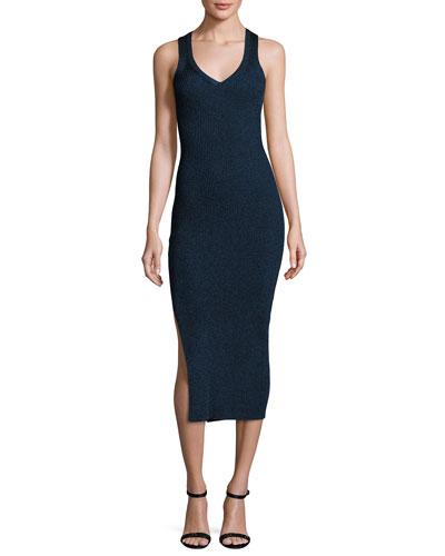 Sleeveless Knit Midi Dress, Night Blue Slate