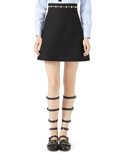 Embroidered Cady Crepe Skirt, Black