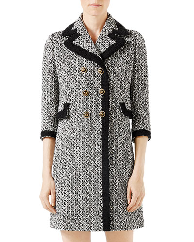 Tweed Double-Breasted Coat w/Contrast Trim, Multi