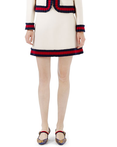 Cady Crepe A-Line Mini Skirt, Multi