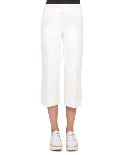 Madison Straight-Leg Cropped Pants, Cream