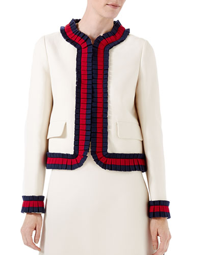 Cady Crepe Jacket w/Knit Detail, Multi