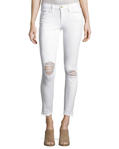 Le Skinny de Jeanne Crop Released-Hem Jeans, Lilac Blanc