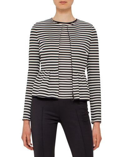 Striped Peplum Zip Jacket, Black/Cream