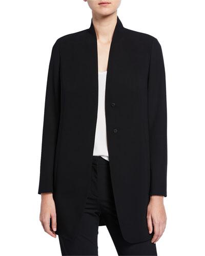 Stretch Wool Collarless Blazer Jacket
