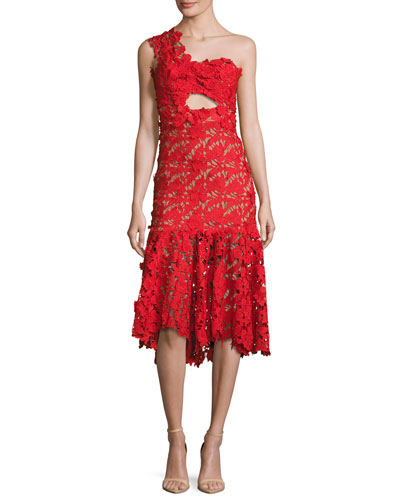Lace One-Shoulder Midi Dress, Red