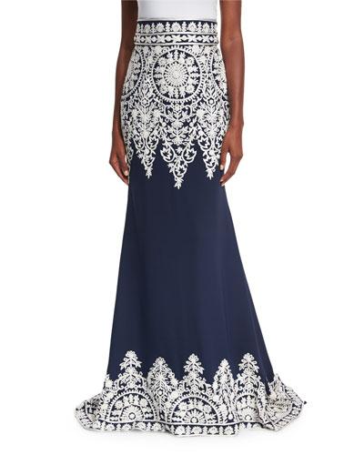 Thread-Embroidered Silk Trumpet Skirt
