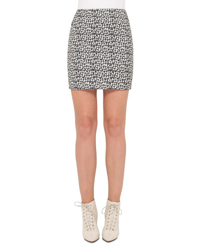 Ai Handbag-Print Skirt, Black/White